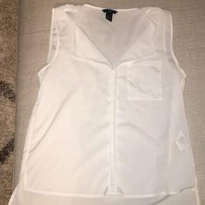 White H&M  v neck silk Tunic with pocket.